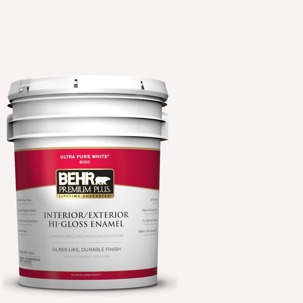 BEHR Premium Plus 5-gal. #730A-1 Smart White Hi-Gloss Enamel Interior/Exterior Paint
