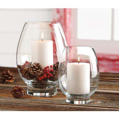 Clear Glass Large Lotus Hurricane Candle Holder