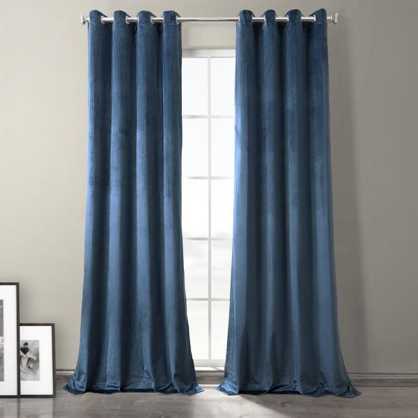 Baroness Blue Plush Velvet Hotel Blackout Grommet Curtain - 50 in. W x 96 in. L (1 Panel)
