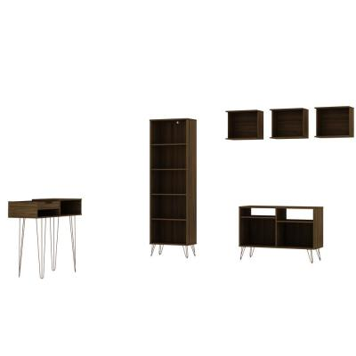 Rockefeller 6-Piece 39.37 in. Brown TV Stand Living Room Set, Fits TV's up to 32 in.