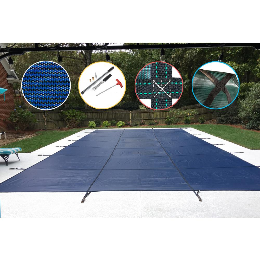 WaterWarden 30 ft. x 60 ft. Rectangle Blue Mesh In-Ground Safety Pool Cover