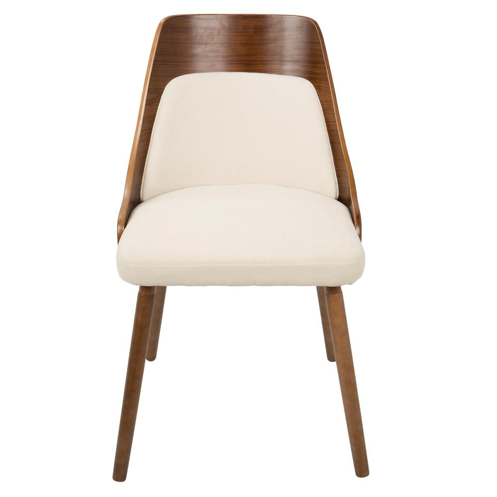 Lumisource Anabelle Mid Century Walnut And Cream Modern Dining Chair