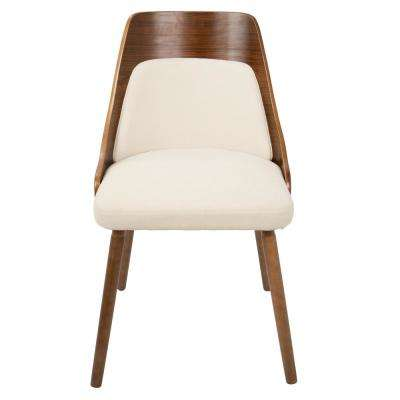 Anabelle Mid-Century Walnut and Cream Modern Dining Chair