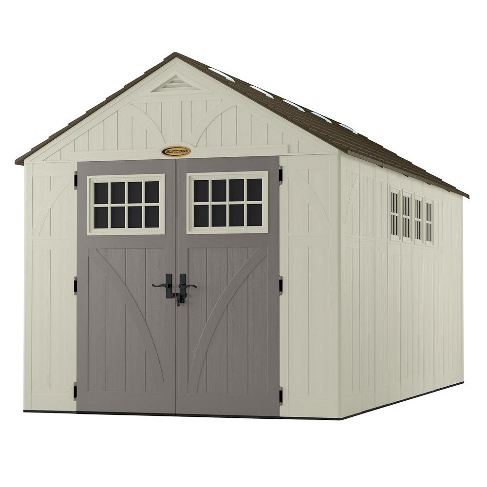 Beau Suncast Tremont 16 Ft. 3 1/4 In. X 8 Ft. 4 1/2 In. Resin Storage Shed With  Windows BMS8165   The Home Depot