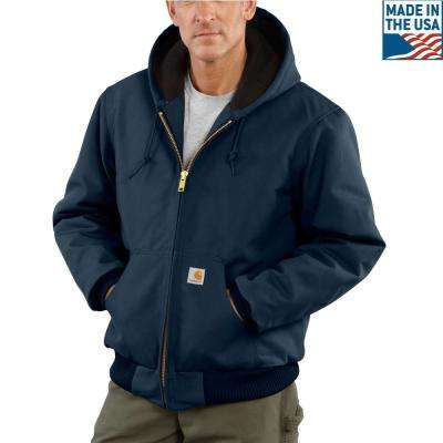 Men'S Small Dark Navy Cotton Quilted Flannel Lined Duck Active Jacket