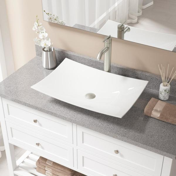 Mr Direct Porcelain Vessel Sink In Bisque With 718 Faucet And Pop Up Drain In Brushed Nickel V360 B 718 Bn The Home Depot