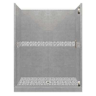 Del Mar Grand Hinged 36 in. x 48 in. x 80 in. Center Drain Alcove Shower Kit in Wet Cement and Satin Nickel Hardware