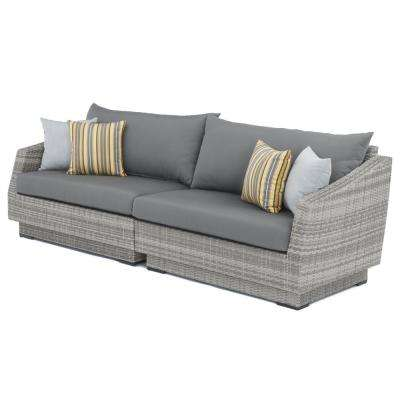 Cannes 2-Piece All-Weather Wicker Patio Sofa with Sunbrella Charcoal Grey Cushions
