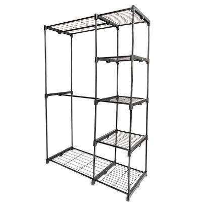 67 in. x 19 in. Black Plastic Parts and Black Carbon Steel Metal Stoving Varnish Pipes Portable Wardrobe
