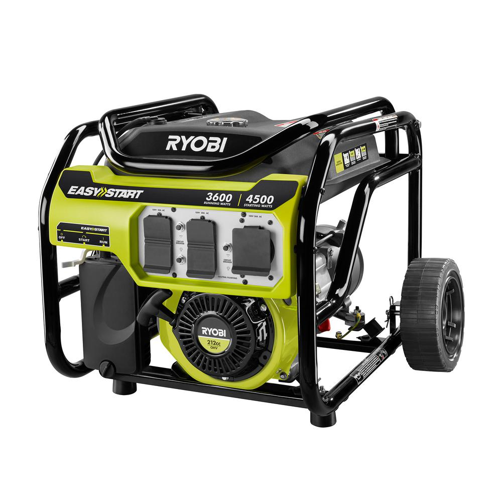 RYOBI 3,600 Running Watt 212cc Gasoline Powered Portable Generator