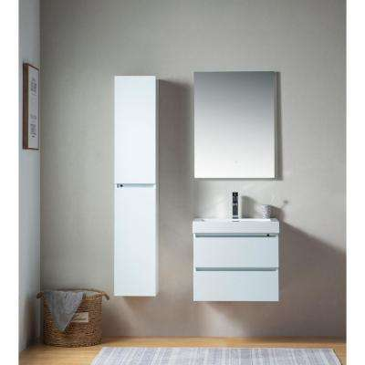 Annecy 24 in. W x 18.5 in. D x 20 in. H Bathroom Wall Hung Vanity in White with Single Basin Vanity Top in White Resin