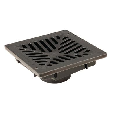 9 in. x 9 in. Vortex Catch Basin Complete with Black Concave Grate