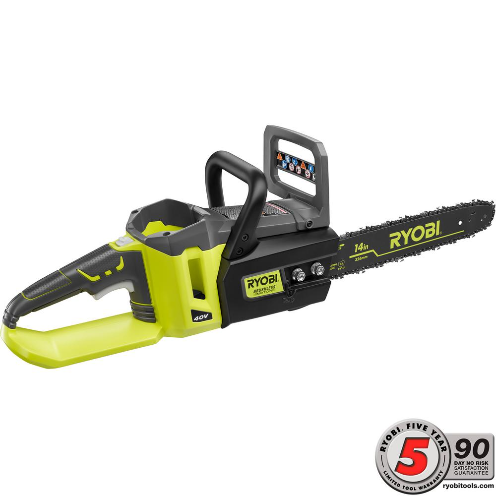 Ryobi 14 in. 40-Volt Brushless Lithium-Ion Cordless Chainsaw Battery and Charger Not Included