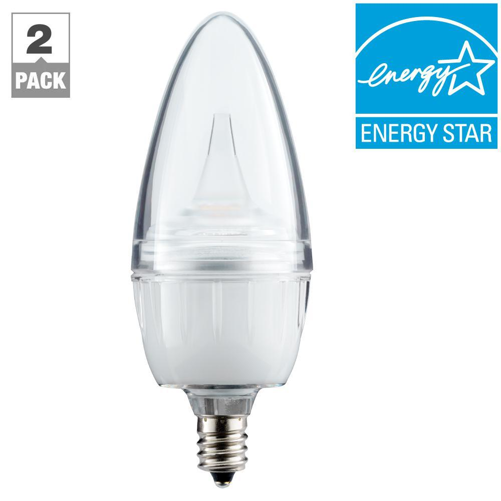40w equivalent soft white 27001800k candelabra dimmable led light bulb with candlelight