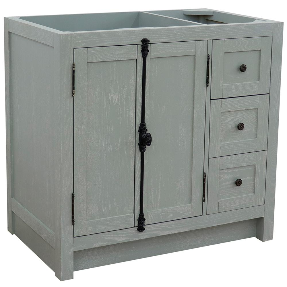 Pleasing Bellaterra Home Plantation 36 In W X 21 5 In D X 34 5 In H Bath Vanity Cabinet Only In Gray Ash Left Cabinet Doors Download Free Architecture Designs Rallybritishbridgeorg