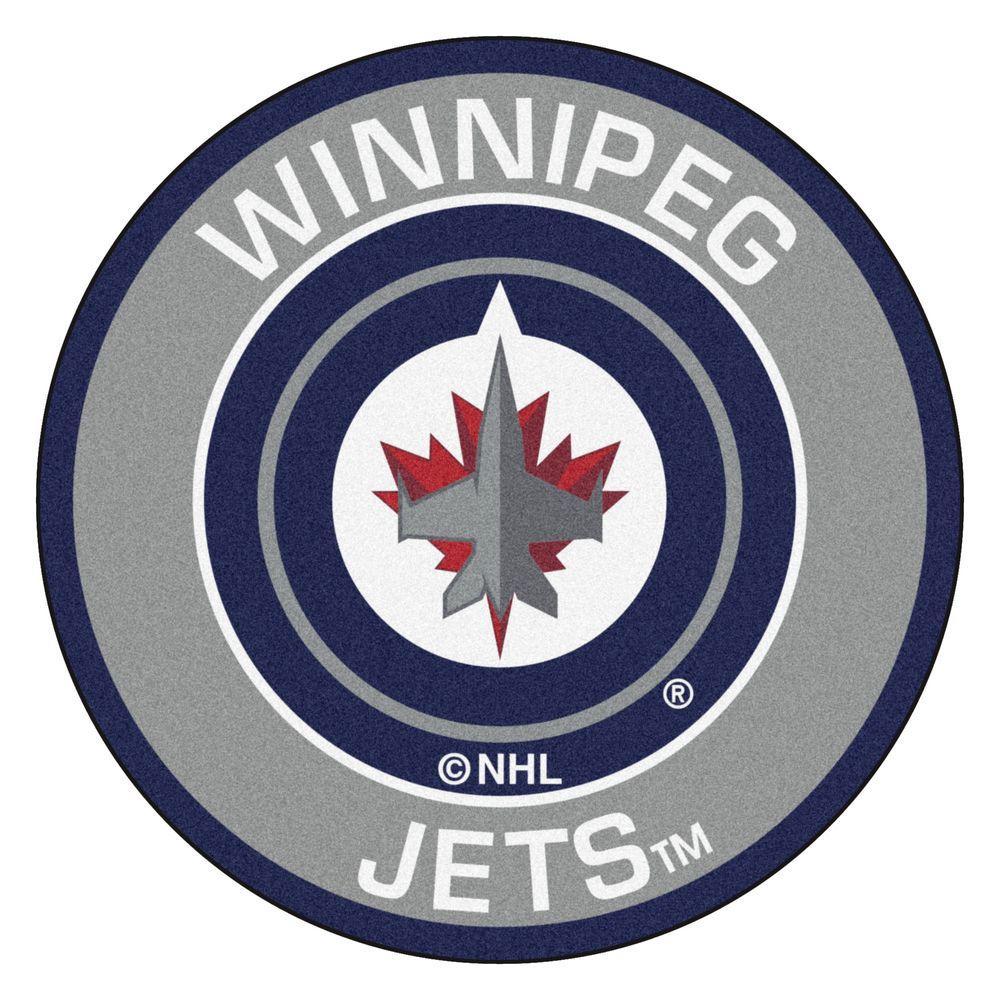 NHL Winnipeg Jets Gray 2 ft. x 2 ft. Round Area Rug