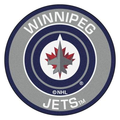 NHL Winnipeg Jets Gray 2 ft. x 2 ft. Round Area Rug