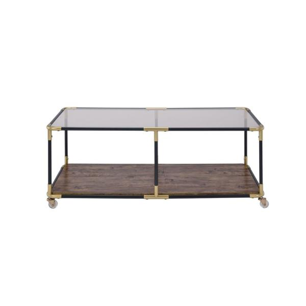 Acme Furniture Heleris Black Gold And Clear Glass Coffee Table