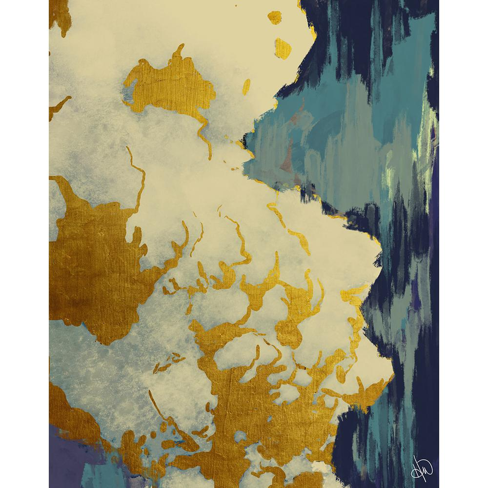 Creative Gallery 20 in. x 24 in. Gold Lining Turquoise Abstract ...