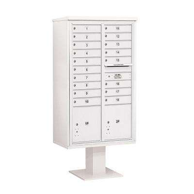 3400 Series 70-1/4 in. 15 Door High Unit White 4C Pedestal Mailbox with 18 MB1 Doors/2 PL5