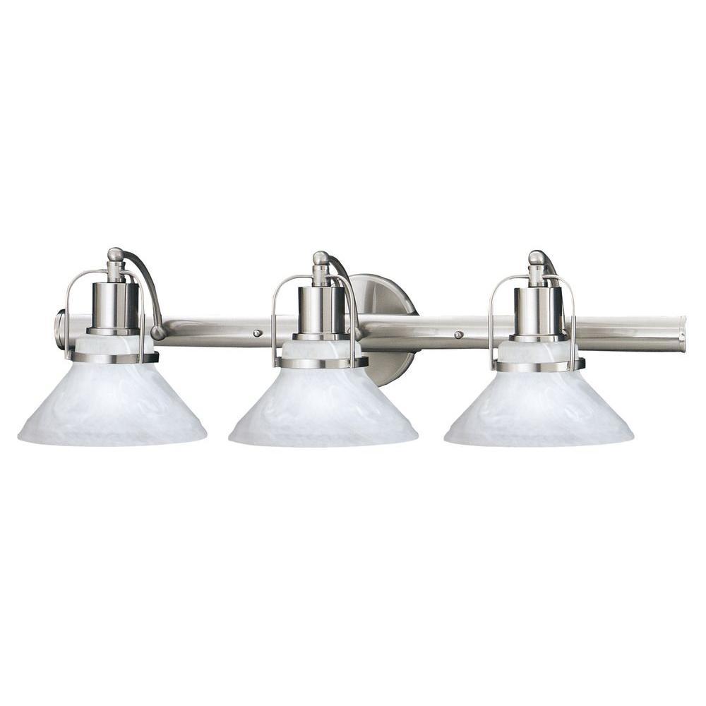 Thomas Lighting Newport 3-Light Brushed Nickel Wall Vanity-DISCONTINUED