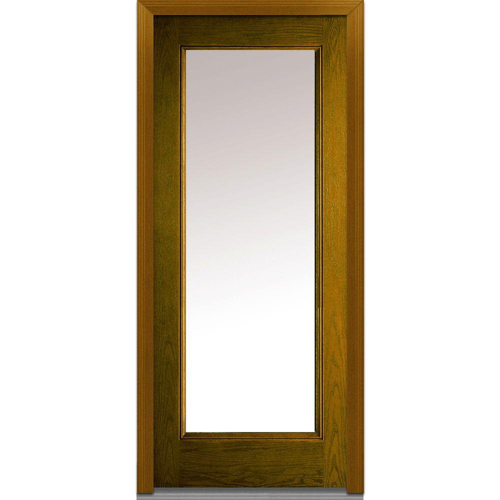 Mmi Door 36 In X 80 In Left Hand Full Lite Clear Classic Stained Fiberglass Oak Prehung Front