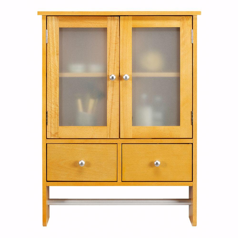Home Decorators Collection Amanda 24 in. W Wall Cabinet in Natural Beech with Towel Bar