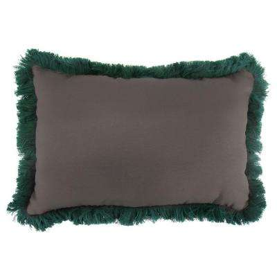 Sunbrella 9 in. x 22 in. Canvas Coal Lumbar Outdoor Pillow with Forest Green Fringe