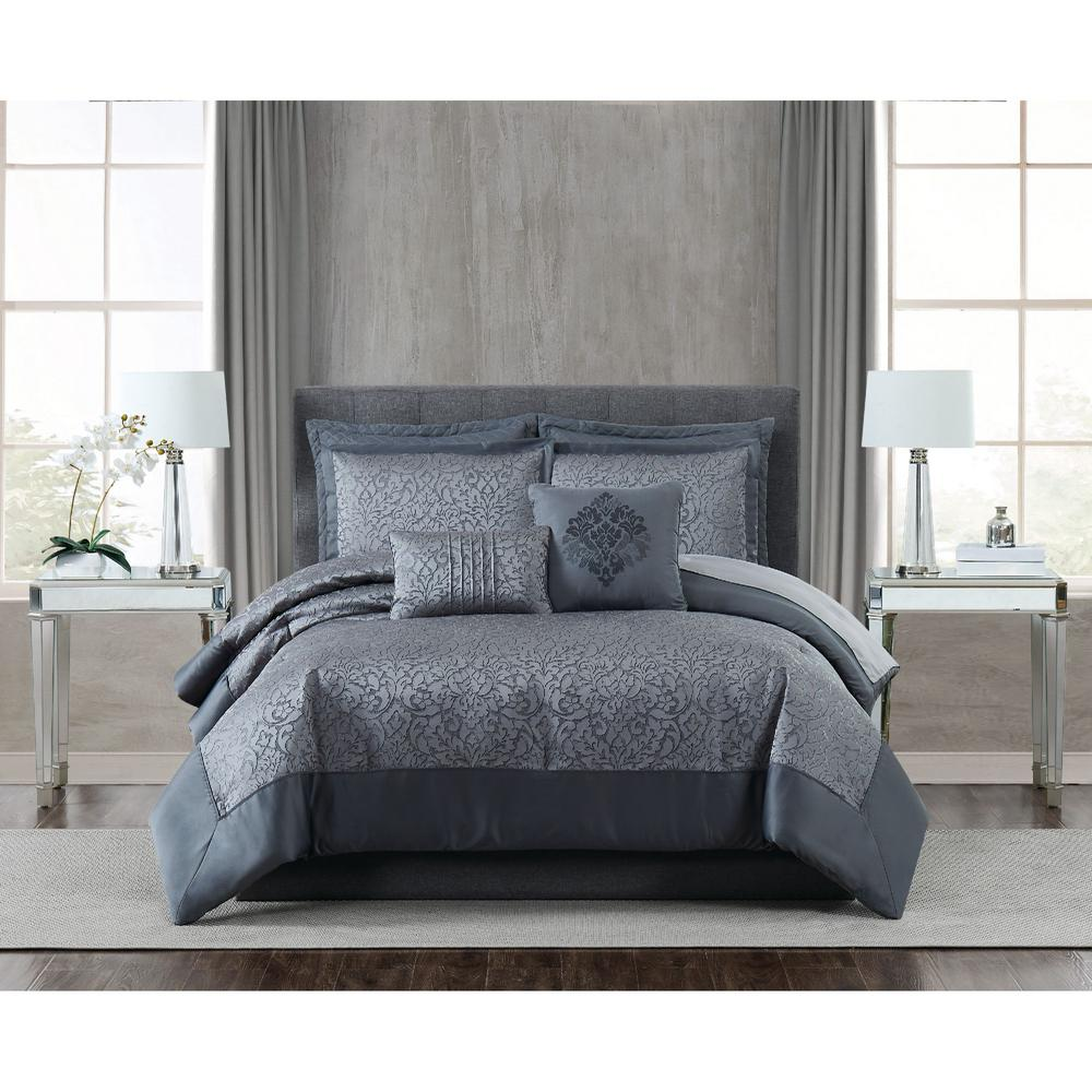 FIFTH AVENUE LUX Coventry 7 Piece Charcoal Grey Queen Comforter