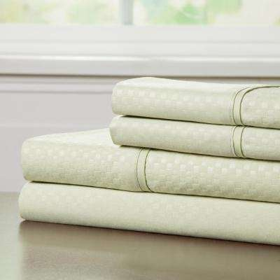 Embossed 4-Piece Sage 90 GSM Microfiber Queen Sheet Set