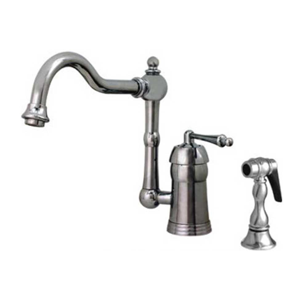 Whitehaus Collection Legacyhaus Single Handle Standard Kitchen Faucet With Side Sprayer In Polished Chrome