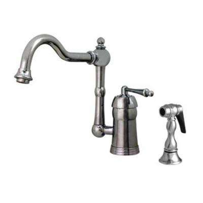 Legacyhaus Single Handle Standard Kitchen Faucet With Side Sprayer In  Polished Chrome