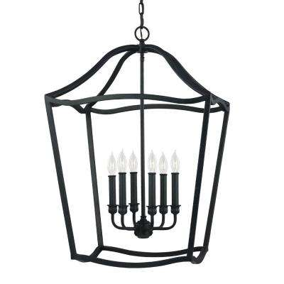 Yarmouth 6-Light Antique Forged Iron Hall Fixture Chandelier