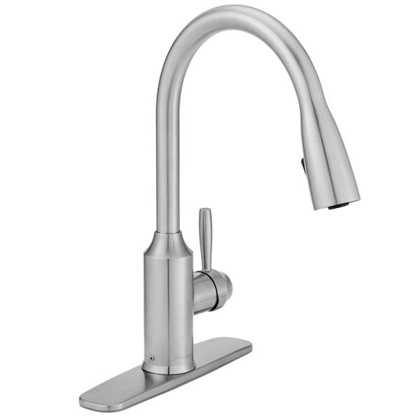 Glacier Bay Invee Single Handle Pull Down Sprayer Kitchen Faucet In Stainless Steel Fp4a4080ss The Home Depot