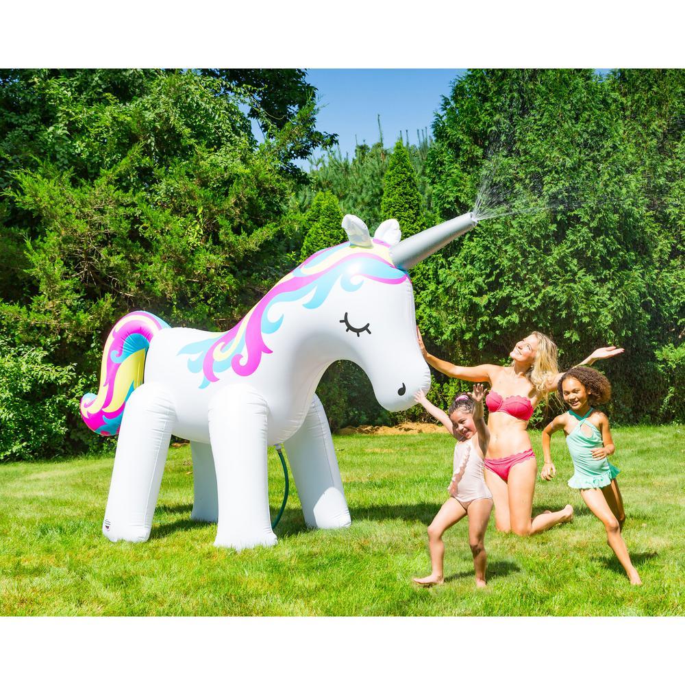 Giant Inflatable Unicorn Sprinkler Garden Fun Kids Toy Water Sprayer 6ft Tall