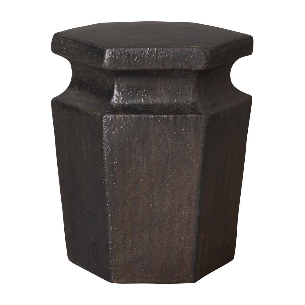 Hex Metallic Ceramic Garden Stool