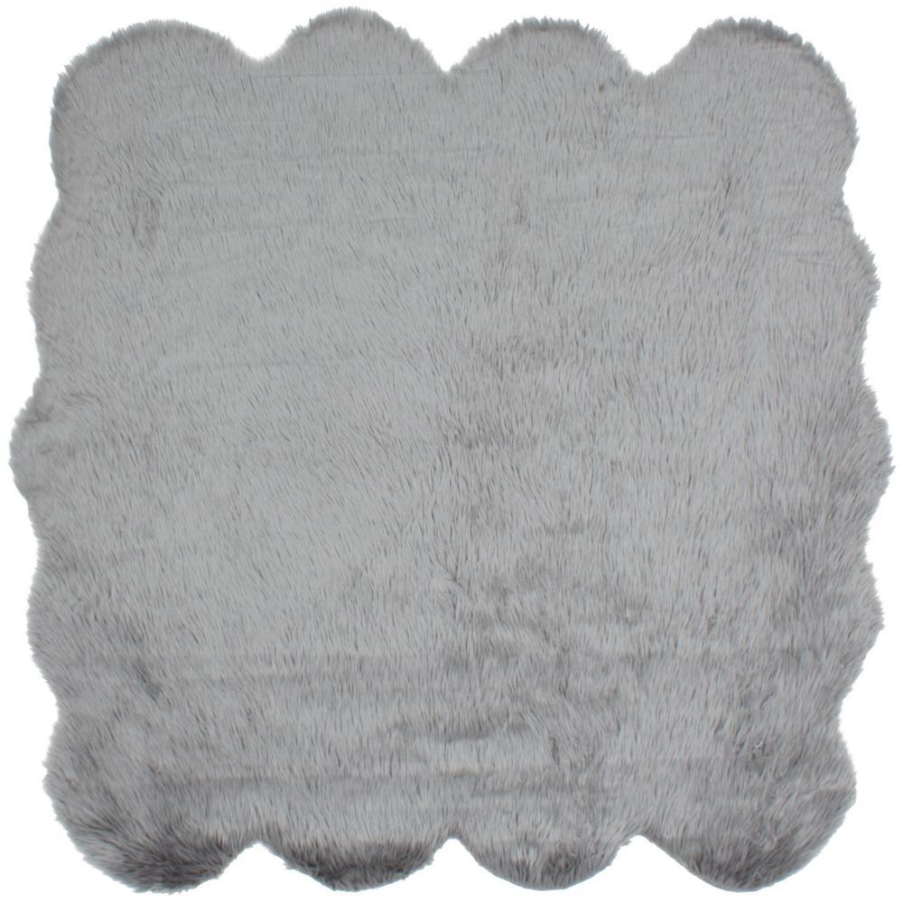 ECarpet Gallery Royale Octo Grey Acrylic Faux Fur 5 Ft. 9