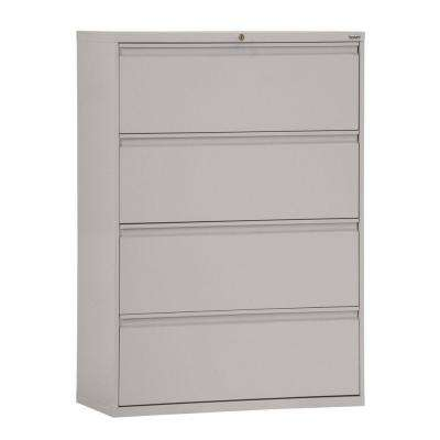 800 Series 36 in. W 4-Drawer Full Pull Lateral File Cabinet in Dove Gray