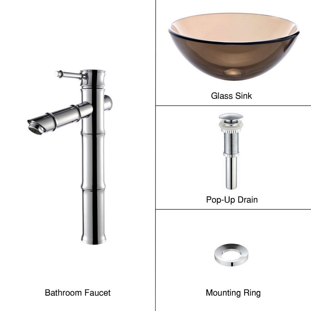 KRAUS Glass Bathroom Sink in Clear Brown with Single Hole 1-Handle Low Arc Bamboo Faucet in Chrome-DISCONTINUED