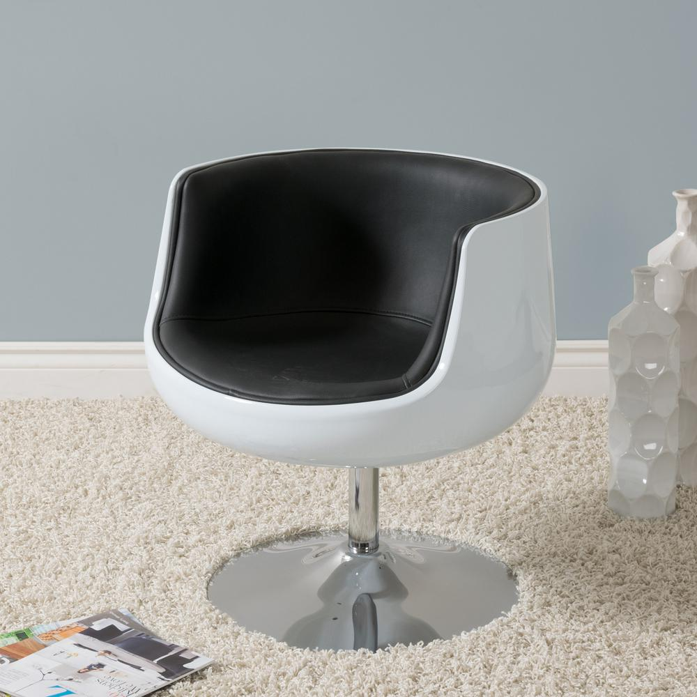 CorLiving Mod Modern Black And White Bonded Leather Swivel Barrel Chair