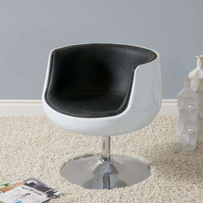Mod Modern Black and White Bonded Leather Swivel Barrel Chair