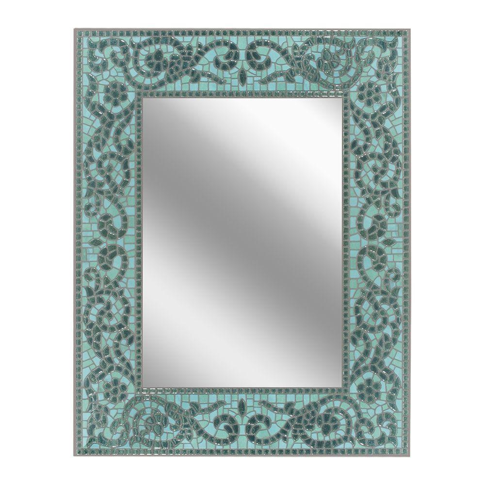 Deco Mirror 26 in. x 33 in. Sea Glass Mirror