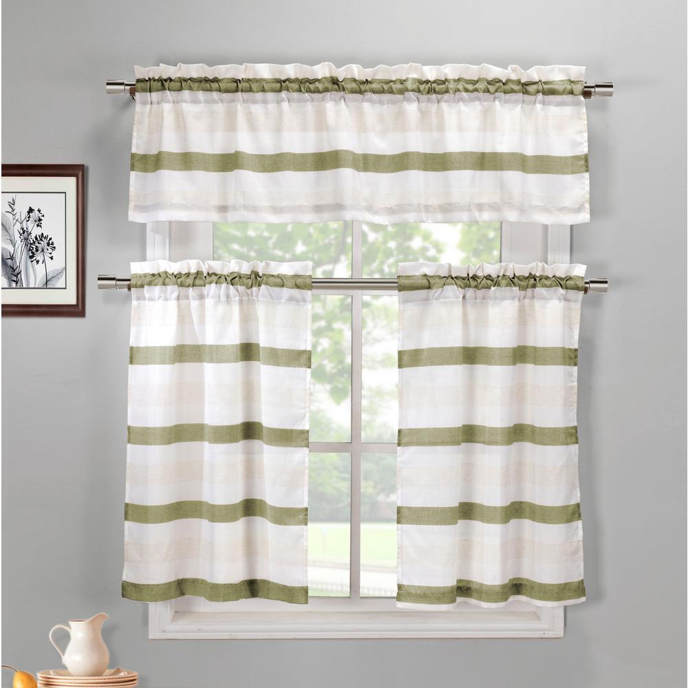Akua Sage-Linen Kitchen Curtain Set - 58 in. W x 15 in. L (3-Piece)