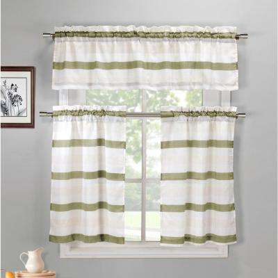 Akua Sage-Linen Kitchen Curtain Set - 58 in. W x 15 in. L (3-Piece)