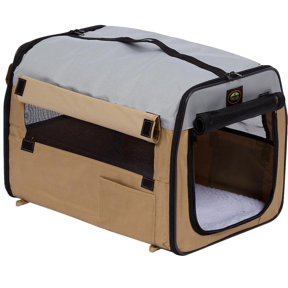 Lightweight Khaki Folding Collapsible Zippered Easy Pet Crate - Small