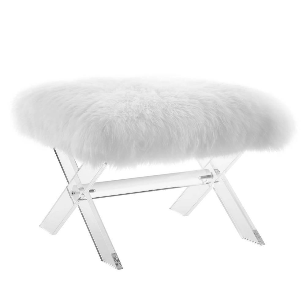 Clear White Swift Sheepskin Bench