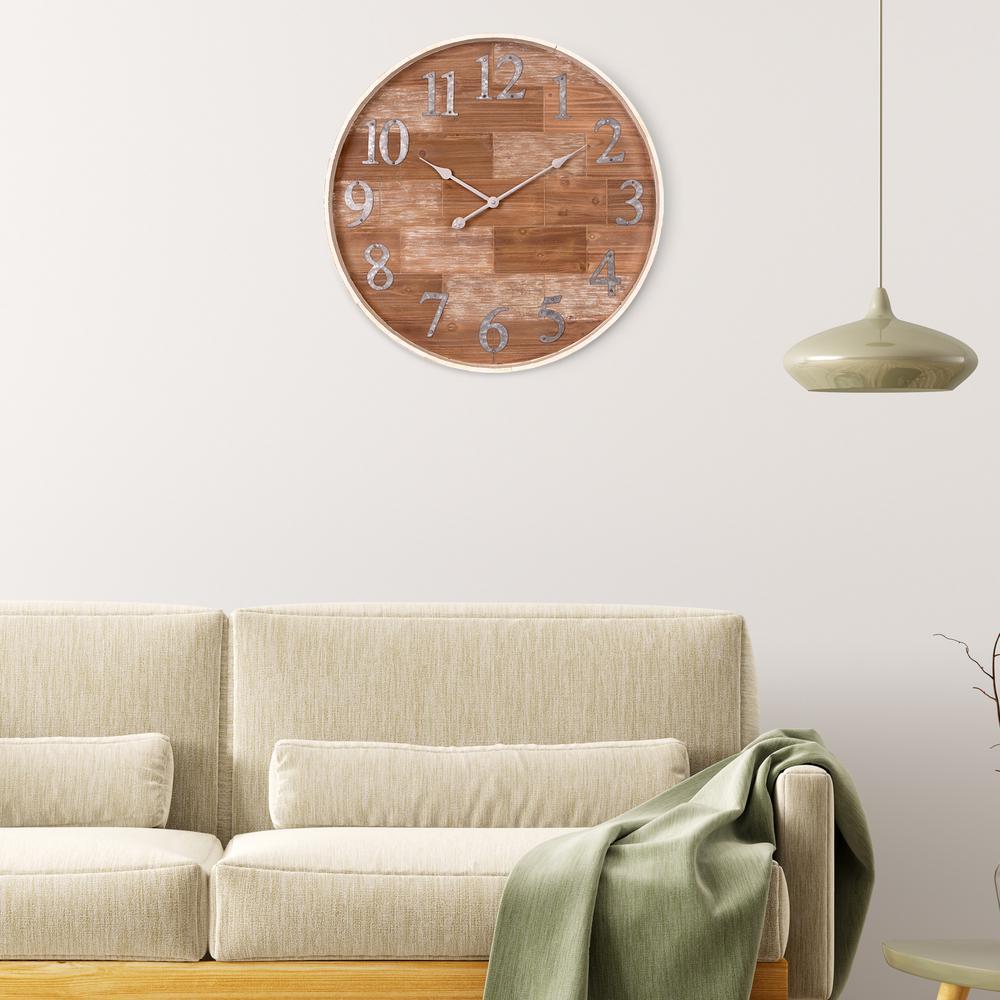 Rustic Shiplap Wood Barrel Brown Wall Clock