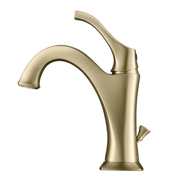 Arlo Single Hole Single Handle Bathroom Faucet with Lift Rod Drain and Deck Plate in Brushed Gold