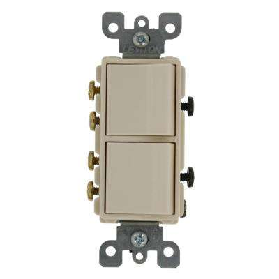 20 Amp Decora Commercial Grade Combination Two 3-Way Rocker Switches, Light Almond