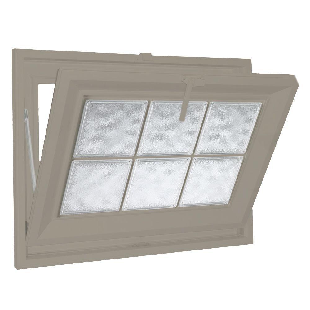 Hy-Lite 39 in. x 23 in. Acrylic Block Hopper Vinyl Window